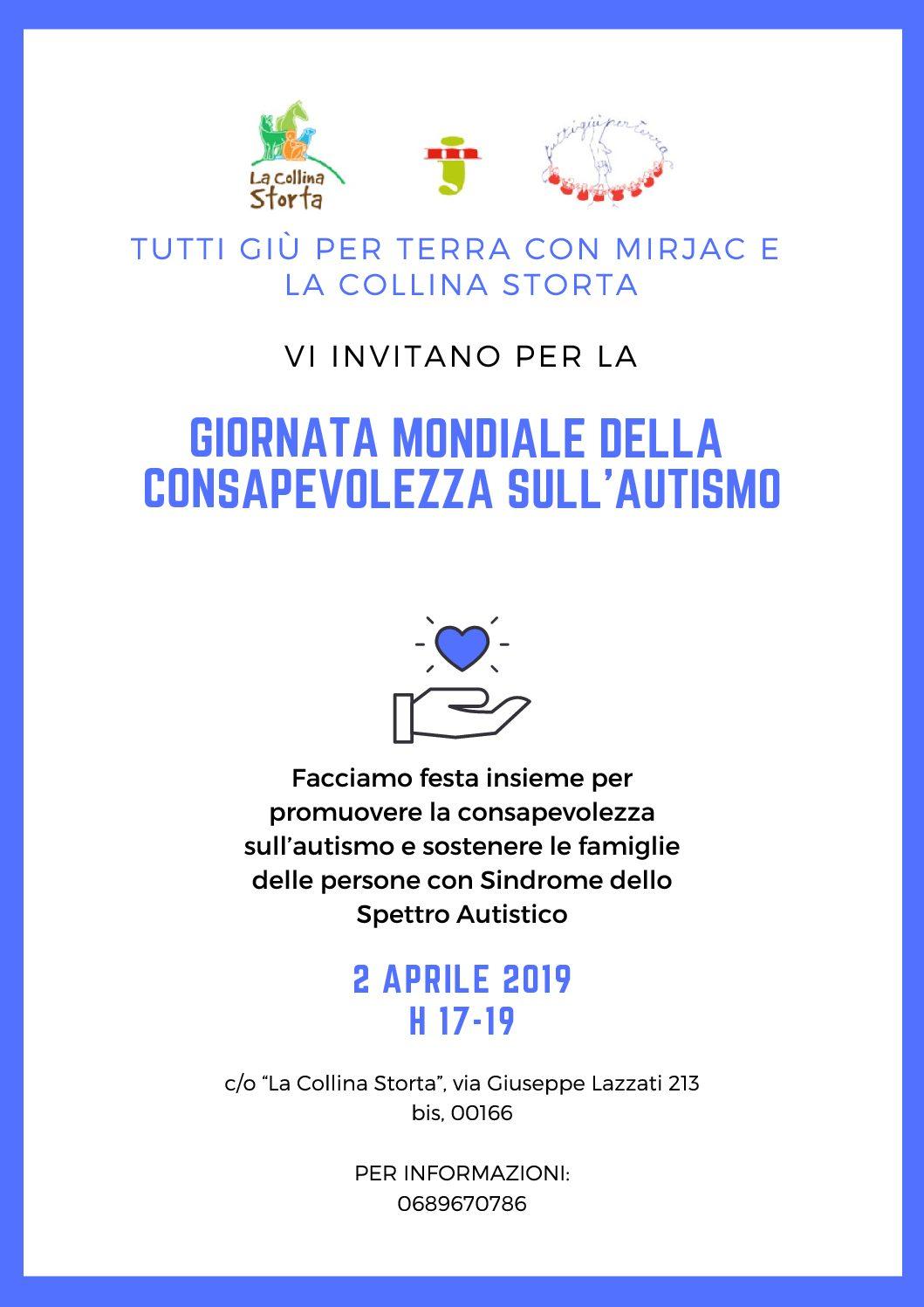 Giornata della consapevolezza sull'autismo, il 2 Aprile 2019 presso La Collina Storta